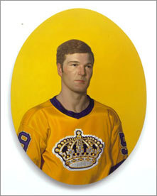 This painting 'Mike' illustrates Mike Byers, a right wing who played for the 1970-71 Los Angeles Kings.