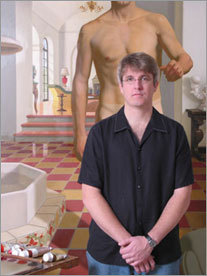 Artist Kurt Kauper stands arms folded in front of a portrait from a series he did on the actor Cary Grant.