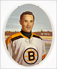 Jacques Plante began playing in the NHL in 1952 for the Montreal Canadiens, where he became well known and played the majority of his career. Plante is shown here in a 2004 piece entitled 'Jacques.'