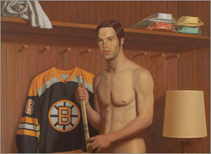 Detail of the painting titled 'Derek,' which features former Bruins center Derek Sanderson in the locker room. Sanderson was once the highest-paid hockey player.