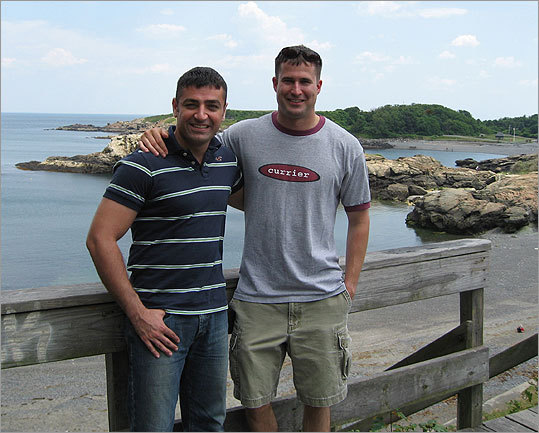 Mohammed Harba and Seth Moulton, shown above in Marblehead in June, filmed an episode about Babylon and its museum in 2003.