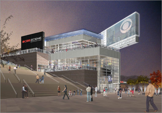 An architectural rendering of the exterior of the three-story CBS-themed restaurant planned for Patriot Place.