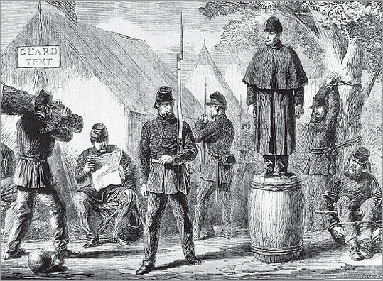 A 19th-century image shows federal troops employing several forms of torture. One man stood on a barrel for several hours; another carried a large log, his leg weighted with a ball and chain; a third was bound to a tree with his arms raised above his head; a fourth sat on the ground, tied.