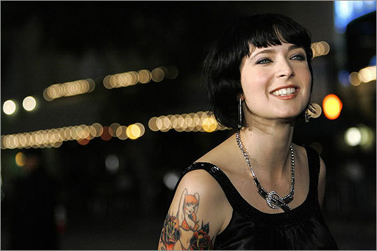 Diablo Cody, who wrote the script for the movie 'Juno', posed at the movie's premiere at the Village Theatre in Westwood, CA.