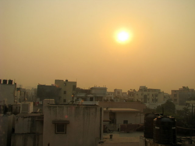 A November sunrise in Delhi.