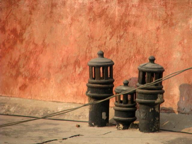 Chimney pots dot the streets.