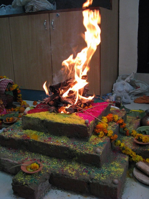 New Year's puja in my boss's office.