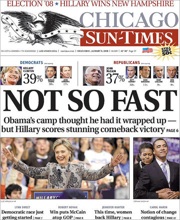 The Chicago Sun-Times displayed a dejected Barack Obama opposite a celebrating Hillary Clinton.