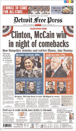 The Detroit Free Press gave top billing to the comeback theme but also said that Romney and McCain will 'take Michigan by storm.'