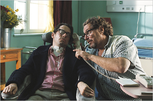 Julian Schnabel (right) directing Mathieu Amalric on the set of 'The Diving Bell and the Butterfly'