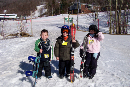 Sebastian, Lauren, and Nickolas were ready to ski at New Hampshire's Wildcat Mountain.