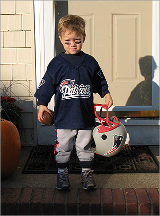 Aidan of Point Lookout, N.Y. looks ready to go play some football.