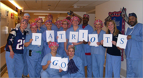 The operating room staff at Children's Hospital Boston loves their home team. Go Pats!