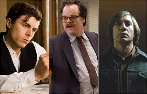 This year's Academy Awards ceremony will take place on Feb. 24. Five actors have been nominated in the category of best supporting actor: Casey Affleck, 'The Assassination of Jesse James ...'; Javier Bardem, 'No Country for Old Men'; Philip Seymour Hoffman, 'Charlie Wilson's War'; Hal Holbrook, 'Into the Wild'; Tom Wilkinson, 'Michael Clayton.' Boston Globe film critics Ty Burr and Wesley Morris have made their predictions about who will win, who should win, who was robbed, and who shouldn't be here.
