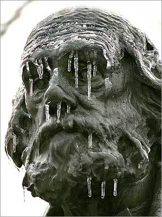 No, just the statue of author-clergyman Edward Everett Hale in Boston's Public Garden after an ice storm in 1995.