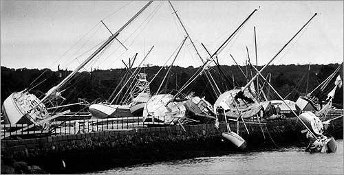 Bob, which formed off the Bahamas in August 1991, barreled toward the Carolinas, up the East Coast, and across Long Island Sound. As Bob passed Block Island, winds were recorded at 125 miles per hour, and it soon struck full force along the southeastern Massachusetts coast, bringing massive destruction to these boats moored in Dartmouth.