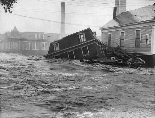 'No such widespread wave of destruction have swept over New England in the memory of living men.' That is the what The Boston Globe reported after massive floods swept away homes, businesses, farms, and lives throughout five states in March 1936. The floods, which followed days of heavy rains, quickly burst the banks of the Merrimack, Connecticut, and Kennebec rivers. As many as 100,000 people were displaced and some 100 died. Today a vast network of flood control reservoirs, dams, and dikes has been designed to prevent a recurrence of such destructive flooding. This picture was taken in Ware.