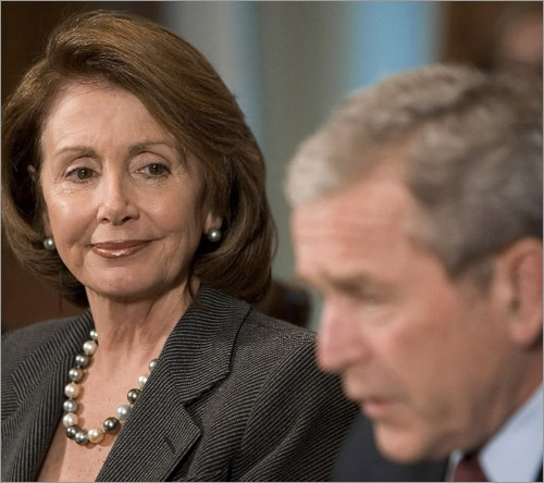 Answer: The Speaker of the House. Nancy Pelosi, pictured next to President Bush, currently holds that position. 4. Who is Chief Justice of the Supreme Court?