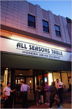 IT'S ALL IN THE MIX All Seasons Table in Malden serves traditional Chinese, Japanese, and other pan-Asian fare, including Peking duck lettuce wraps with plum sauce and, from the sushi bar, meticulous works of edible art. Live jazz, good martinis, and two large flat-screen TVs for watching Dice-K pitch make the spot an eclectic delight. All Seasons Table, 64 Pleasant Street, Malden, 781-397-8188, allseasonstablerestaurant.com