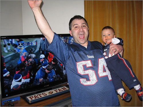 In Plymouth, Seth and son, Zach, celebrated the end of the AFC Championship Game.