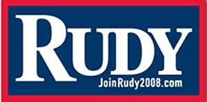 Analysis: Like Clinton, Giuliani has abandoned his last name nearly completely. Using his short four-letter name allows him to set it particularly large. His message is all about Rudy, name recognition. The enlarged R introduces the other letters like a big, protective parent.
