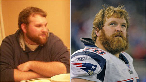 Medfield resident Ryan Colwell sent in this photo, saying when in Foxboro, he's constantly asked if he's offensive lineman Logan Mankins. <!-- // define variables var date = new Date(); var current_time = date.getTime(); // write SCRIPT tag to browser document.writeln(' '); // -->