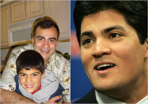 Franklin resident Joyce Minassian sent along this photo of her nephew (bottom), who she thinks looks like linebacker Tedy Bruschi. <!-- // define variables var date = new Date(); var current_time = date.getTime(); // write SCRIPT tag to browser document.writeln(' '); // -->