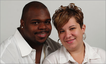 Patriots defensive lineman Vince Wilfork with his wife, Bianca.