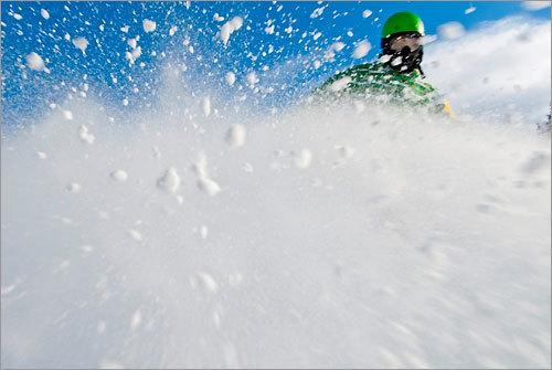 Clinton snowboarded down Mount 'Rockin' Sunapee.