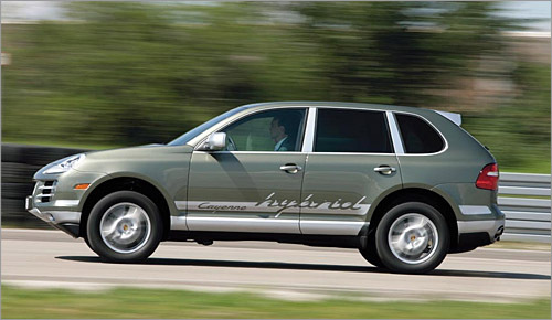 Porsche Cayenne Hybrid Just as the entry-level Cayenne was slipping into dim memory, the German sports car marque attaches a 50 horsepower electric motor to the SUV's V6 and claims freeway speeds up to 75 mph - with the gas engine off. Eyebrows thoroughly raised. But until it's out on the road, we're guessing electric-only high-speed cruising will last as long as a nitrous oxide tank, unless there's some super Duracells in there. Those gaudy graphics also don't help fuel economy. So here's the better idea, Porsche - put this hybrid package in the base Cayman, make it as fast as the S model and charge the same price. (Porsche AG)