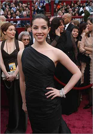 Actress Olivia Thirlby (co-star of 'Juno') stops for photographers.