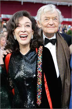 Hal Holbrook, nominated for an Oscar for best actor in a supporting role for his work in 'Into the Wild,' arrives with Dixie Carter.