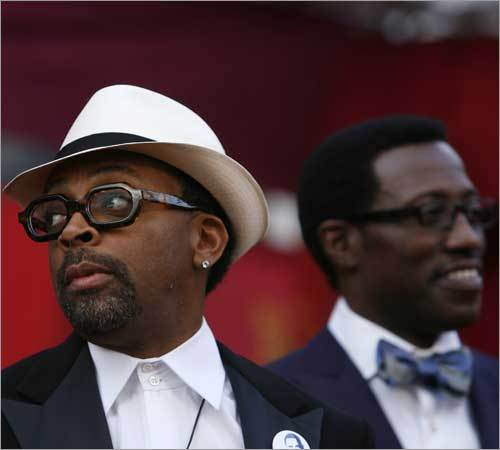 Director Spike Lee (L) and Wesley Snipes.