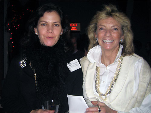 "From left: Mary Yntema, the Chair of the Nominee Committee, and Claudia Woods, the Director of the New England Historical Genealogical Society, expressed their hope that the younger generation will help to support the Brattle Theater. Woods called the Brattle Theater ""a Boston institution."""