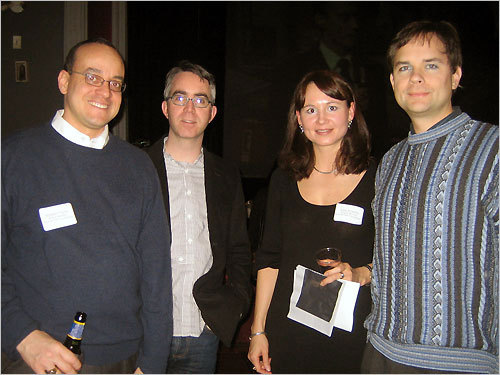 "From left: Roger Fussa, the Vice President of the Brattle Film Foundation, Mike Bowes, former President of the board, Julia Ananina, and Greg Schmergel of Newton. Bowes rooted for ""There Will Be Blood"" for best picture, Ananina was excited to see who would win the best costume design, and Schmergel wanted ""Ratatouille"" to win the best animated film category."