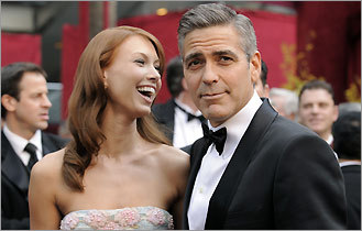 Sarah Larson (left) and George Clooney at the 80th Academy Awards