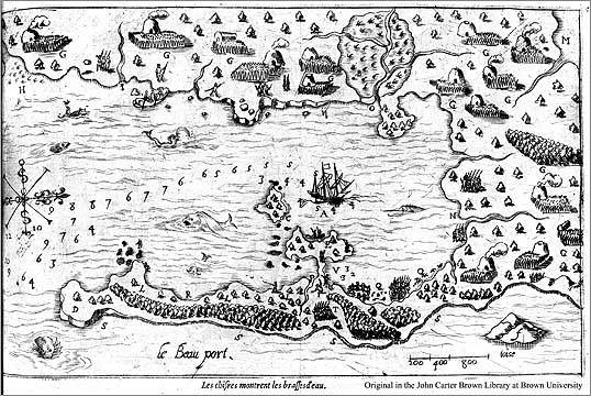 "Samuel de Champlain's illustration of ""Beau Port,"" now Gloucester."