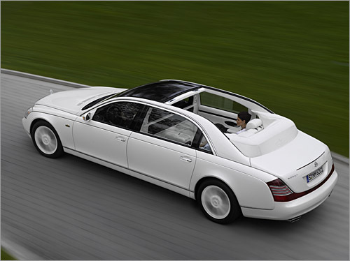 Maybach Landaulet Now there's a genuine reason to buy a Maybach over a look-alike and fully-laden S-Class: a folding soft-top. Sadly, James can't enjoy 'the opportunity to savour a closeness to nature' with his clientele, as Maybach puts it. Bigger headrests and a wind deflector ensures nature doesn't get too involving, but even a 612 horsepower V12 can't outrun the Bird of Paradise - with indigestion. (Daimler AG)
