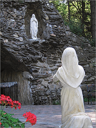 The Shrine to Our Lady of Lourdes The Shrine to Our Lady of Lourdes in Litchfield, Conn., celebrates its 50th anniversary this year, coinciding with the 150th anniversary of Lourdes in France, of which it is a replica. The main shrine, built by the Missionaries of the Company of Mary, consists of a grotto created in honor Our Lady of Lourdes and built from local fieldstone. A highlight here is an interactive stations of the cross a quarter-mile in length where worshipers can wash their hands as Pontius Pilate did, and children are invited to carry a cross on the wooded trail. There are mini-shrines to Saints Michael, Jude, Joseph, and Louis de Monfort. Montfort Road, Litchfield, Conn., 860-567-1041, shrinect.org