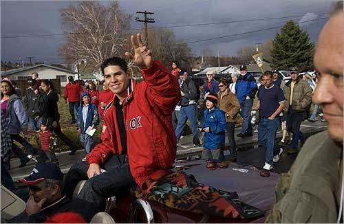 He's learned how to adjust. He lived up through kindergarten on a reservation in Warm Springs, Oregon, and for parts of his sixth and eighth grades on a reservation in Parker, Arizona. But most of his life he spent living in the small town of Madras in central Oregon. At left, Ellsbury received a hero's welcome in his hometown November 17.