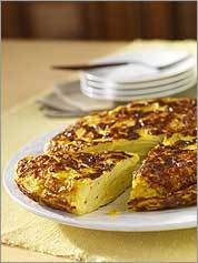 Is a slice of potato-packed tortilla espanola , served with a salad, better for lunch or dinner?