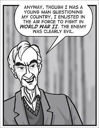 Boston University professor emeritus Howard Zinn had long used the written word to describe his version of US history. But in 2008, at the age of 85, Zinn turned to a new platform -- the graphic novel, with 'A People's History of American Empire.' Illustrations are by Mike Konopacki.