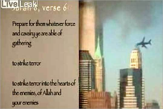 A screen capture from the film 'Fitna' shows a verse from the Koran and the attack on the World Trade Center on Sept. 11, 2001.