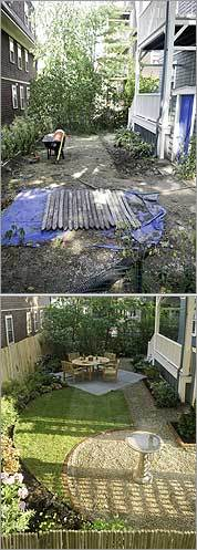 Bowers' backyard before (top) and after the makeover.