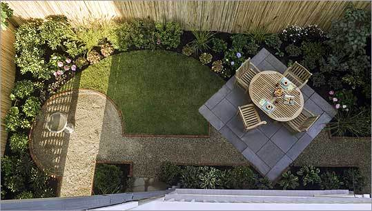 Kate Bowers's yard is small, but that didn't keep her from thinking big. To anchor the space and create more room for plantings, landscape designer Ben Brown proposed a bluestone patio set on the diagonal. A circular pea-gr