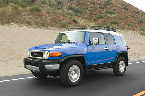 Toyota FJ Cruiser Base MSRP: $22,545 Toyota's retro-styled FJ Cruiser SUV re-creates some of the 1958 FJ40's original charm — a memory lost in today's Land Cruiser. For its second model year Toyota has added standard side-impact and curtain airbags, a new offroad option package and new paint colors. Features including power mirrors, remote keyless entry and cruise control are offered as optional add-ons. That might seem a bit stingy in this price range, but bear in mind that the base FJ Cruiser includes an electronic stability system and Toyota's stout 4.0-liter V-6. (Toyota)