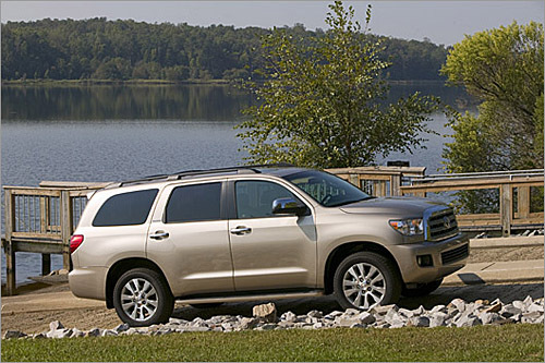 Toyota Sequoia Base MSRP: $34,150 - $52,375 The Sequoia is Toyota's largest SUV, and the full-size model has been redesigned for 2008. The new model is larger than its predecessor and is available with a choice of two V-8 engines, including a 5.7-liter V-8 that makes 381 horsepower. When properly equipped, the Sequoia can pull 10,000 pounds. In a change from the previous Sequoia, the new model has a four-wheel independent suspension. An air suspension system with various modes and a load-leveling feature is available. (Toyota)