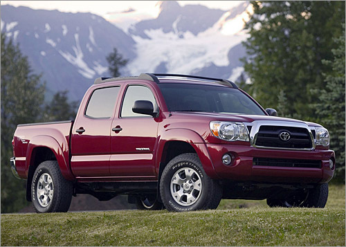Toyota Tacoma Base MSRP: $14,280 - $24,045 The Tacoma pickup truck is available in regular cab, Access Cab with rear-hinged half-doors and Double Cab with four front-hinged doors. Toyota redesigned and enlarged its smaller pickup truck for the 2005 model year, giving it a more powerful V-6, a higher towing capacity and a tighter turning radius. The Tacoma is available in four-cylinder or V-6 form, both with rear- or four-wheel drive. Downhill Assist Control and Hill-start Assist Control are also available, as is a performance-oriented X-Runner model. (Toyota)