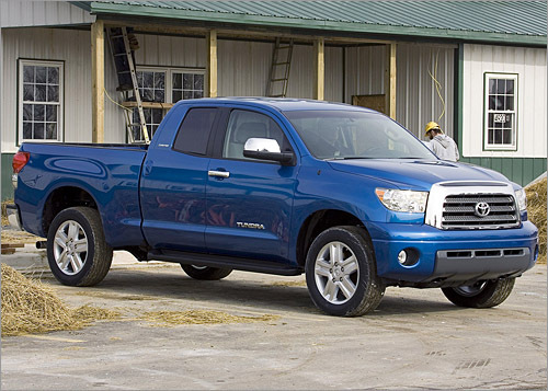 Toyota Tundra Base MSRP: $22,290 - $27,685 Until a few years ago, the full-size pickup truck market was largely the domain of domestic automakers Dodge, Ford and GM. That stranglehold began to erode when Toyota introduced the Tundra for the 2000 model year and Nissan debuted its Titan for 2004. For 2008, Toyota is offering the Double Cab and CrewMax body styles in cheaper trim levels. Tundra Grade is a lower trim level for the Double Cab and CrewMax lineups; before, buyers had to choose either the intermediate SR5 or top-of-the-line Limited trim to get four doors. (Toyota)