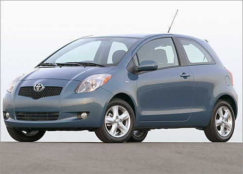Toyota Yaris Base MSRP: $11,350 - $13,725 Introduced in 2007, the Yaris is Toyota's least-expensive model. At its introduction, it served as a replacement for the automaker's Echo. Largely unchanged for 2008, the Yaris is available in sedan or two-door-hatchback form. A new S option is available on hatchback models. Toyota calls the new Yaris S hatchback model 'sport-themed'; it includes body-colored front and rear spoilers. (Toyota)